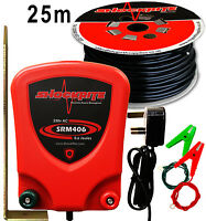 Electric Fence Mains Energiser Shockrite Srm406 0.6 Joule 25m Leadout Cable