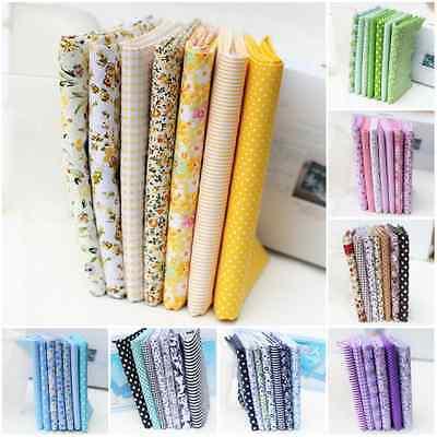 7 Fat Quarters Bundle Pre Cut Charm 100% Cotton Quilt Fabric Floral Cloths
