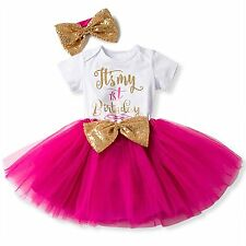 3 Pcs Outfit Baby Girl Newborn It's My 1st Birthday Romper Skirt Headband 12M