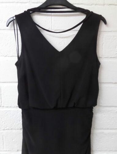 Womens Ladies New Sleeveless Fitted Black Bar Trim Bodycon Stretch Dress UK 8-18