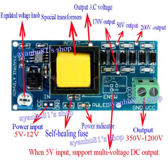 DC 5V-12V Step up to 300V-1200V High Voltage DC-DC Boost Converter Power Module