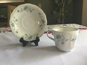 Johann-Haviland-Cup-amp-Saucer-Blue-Roses-Garland-w-Silver-Trim-Germany-Set-of-2