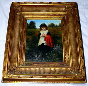 Oil-Painting-Board-Original-Country-Child-Girl-Field-Maldini-Hand-Made-Frame