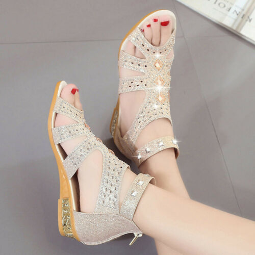 Fashion Women Crystal Leather Wedge Gladiator Sandals Fish Mouth Summer Shoes US