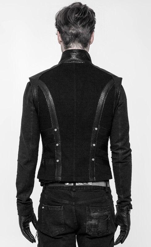 Veste Punk Gothique Cuir Jeans Zippé Clous Gilet Steampunk Bandes OYwrTOq