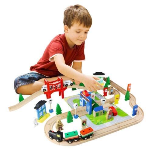 Legno 80 Pezzi Indaffarato Città /& Set Treno Ferrovia Pista Toy Brio Bigjigs Per