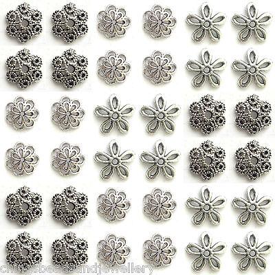 100 Assorted 10-15mm Tibetan Silver Bead Caps