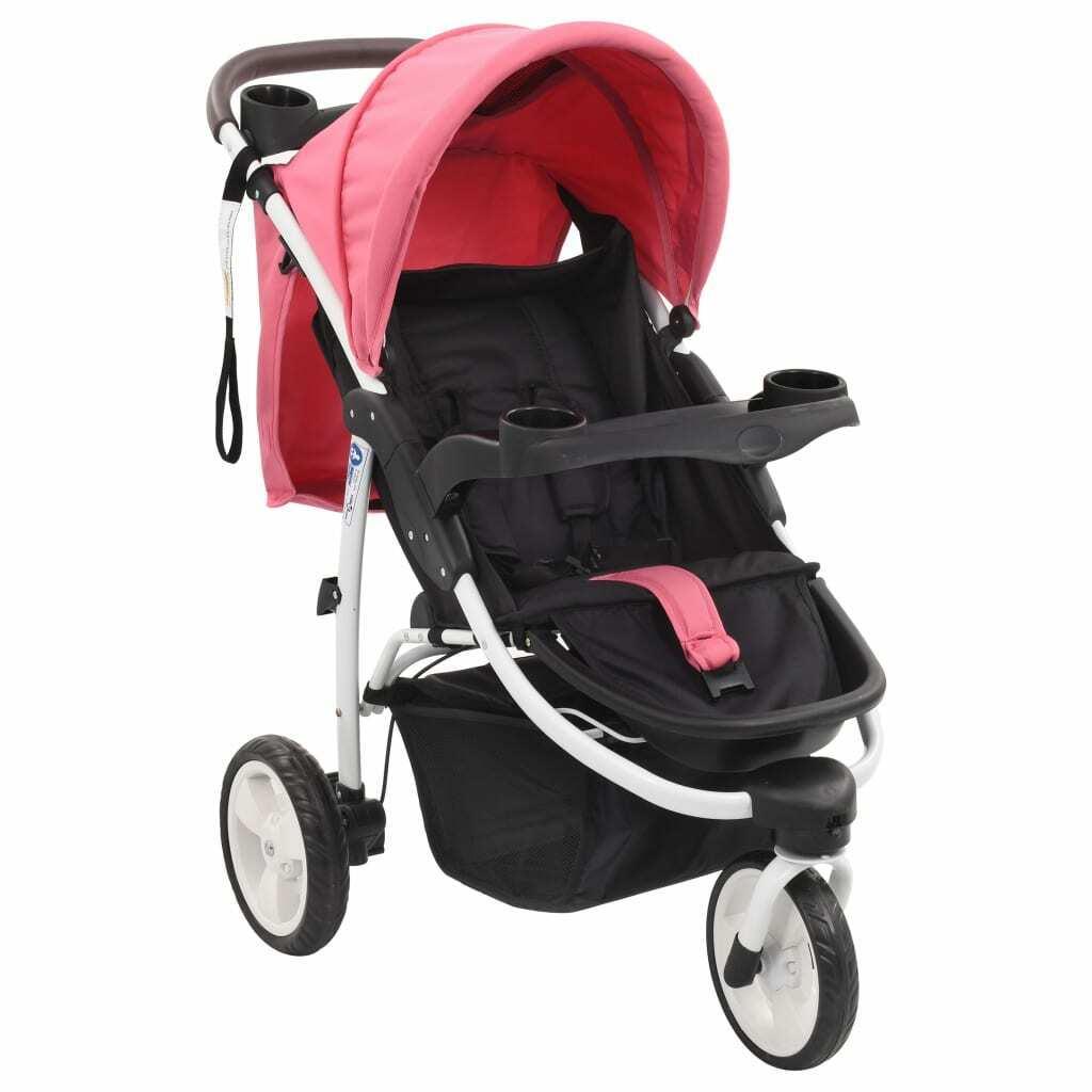Cochecito/Silla de paseo de 3 ruedas rosa y negro
