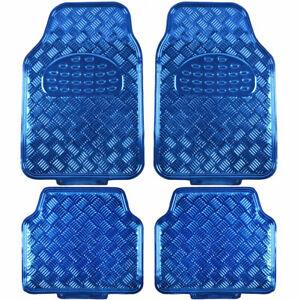 Full Metal Design Car Floor Mats Heavy Duty Metallic 4 piece Front Rear Set Blue