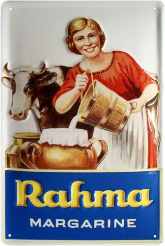 Blechschild Rahma Milch Bauernhof Retro geprägt 20x30 Reklame Vintage Sign 1288