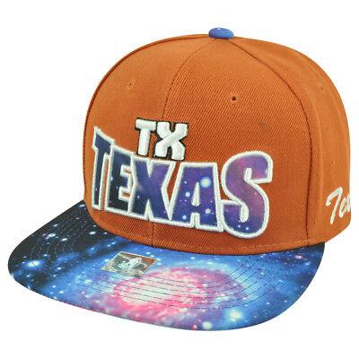 Begeistert Texas Staat Galactic Sublimiert Galaxy Flach Bill Gebrannte Orange Mütze Weitere Ballsportarten Fanartikel