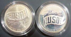1 1991 D United States USO $1 Commemorative MS//UNC Silver Dollar Coin w//COA/&Bx