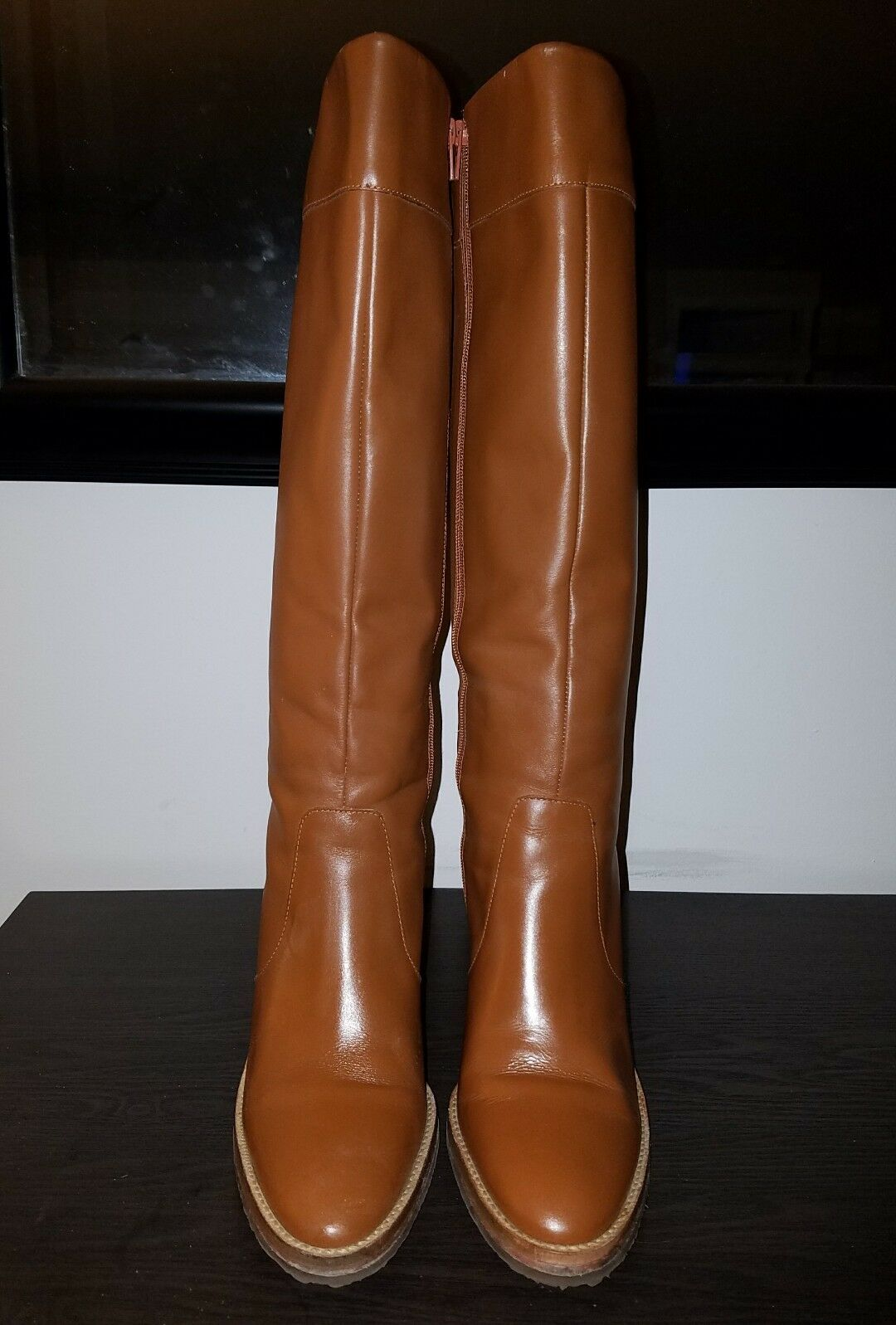 COLIN STUART Brazil 156481 Victorias Secret Leather Knee High Boots 6 M cognac