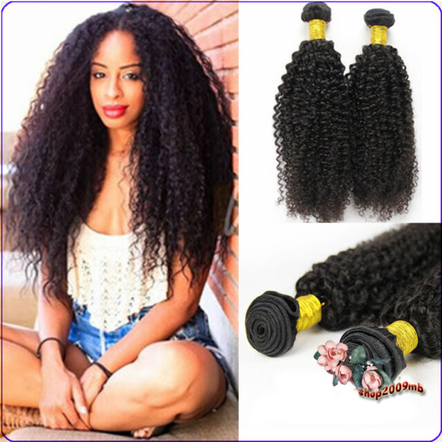 3 Bundles Kinky Curly Weave Human Hair Extensions 100% Unprocessed Peruvian Hair