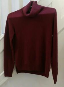 UNIQLO-NWT-WOMENS-CASHMERE-TURTLE-NECK-SWEATER-BURGUNDY-SiZE-S-89