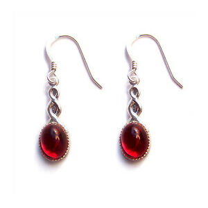 CELTIC-earrings-Red-Sterling-silver-gothic-goth-steampunk-wedding-garnet-ruby
