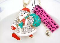 Betsey Johnson Necklace Christmas Santa With Sack Gold Crystals