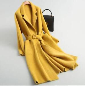 Womens Cashmere Shearing Wool Fur Coat Hooded Jacket Belt Outwear Winter Trench