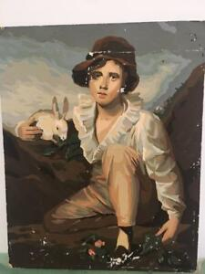 Paint-by-Number-PBN-Oil-Painting-Boy-With-Rabbit-Reynolds-Craft-Master-TLC-16x20