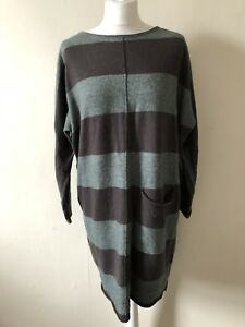 Masai-Clothing-Company-Long-Striped-Jumper-Size-L-Alpaca-Merino-Wool-Pocket
