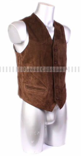 Indiana Men/'s Suede Leather Waistcoat Brown Casual Party Formal Leather Vest