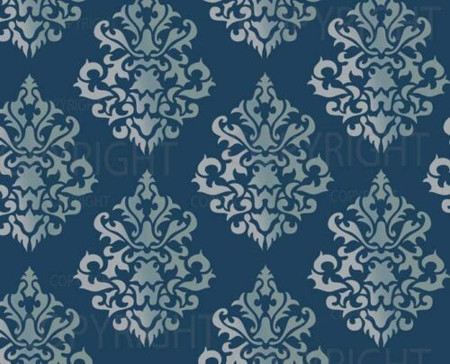 LARGE WALL DAMASK STENCIL PATTERN FAUX MURAL DECOR #1011 Choose Custom Size