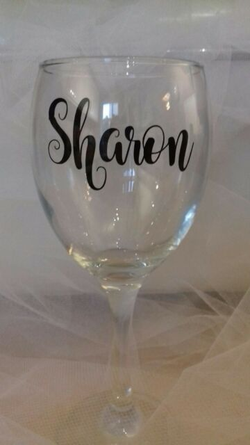 Wine glass vinyl stickers names x 10 champagne flutes water bottle decals