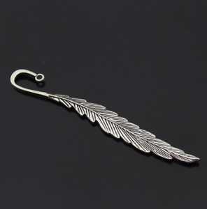 4X Vintage Zinc Alloy Feather Pendant Bookmark Jewelry Accessories diy 117x17mm