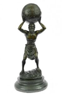 Art-Deco-Original-Aldo-Vitaleh-Carrying-the-World-Bronze-Sculpture-Figurine-SALE