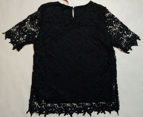 NWT Womens PHILOSOPHY Black White Pink Lace Top Shirt Blouse Small Medium L XL