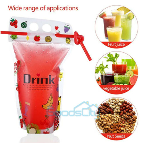 Funnel Included 100PCS for Cold /& Hot Drinks Drink Pouches Bags + Straws