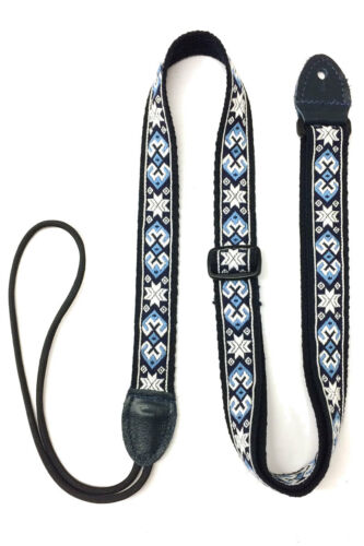 Mandolin Ukulele Woven Strap with Leather Ends