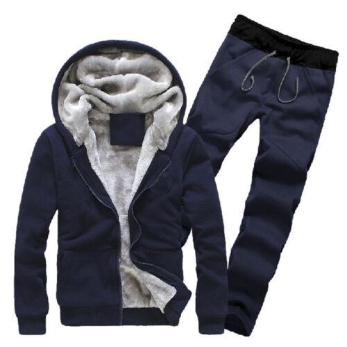 2PCS Mens Fleece Zip Up Tracksuit Set Sports Thicken Hoodies Coat Top Trousers r