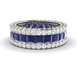 Princess 5.56 Ct Diamond Blue Sapphire 950 Platinum Eternity Band Size M N O P Q