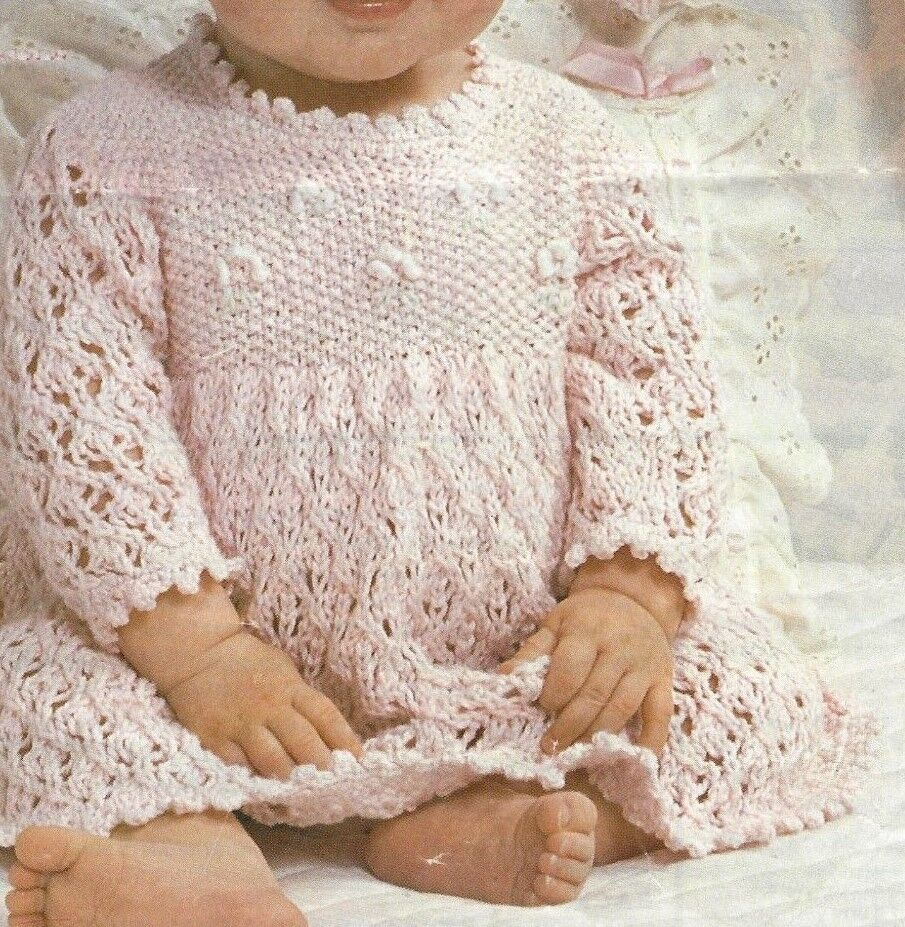 """Baby Girls Cardigan Bonnet and Bootees Knitting Pattern 16-22/"""" DK 332"""