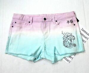 Disney-The-Little-Mermaid-Ariel-Dip-Dye-Cut-Off-Raw-Hem-Denim-Shorts-Juniors-15