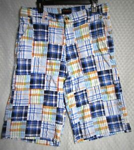 Men-039-s-Dtek-Madras-Patchwork-Plaid-Multi-color-Shorts-Flat-Front-Casual-Size-36