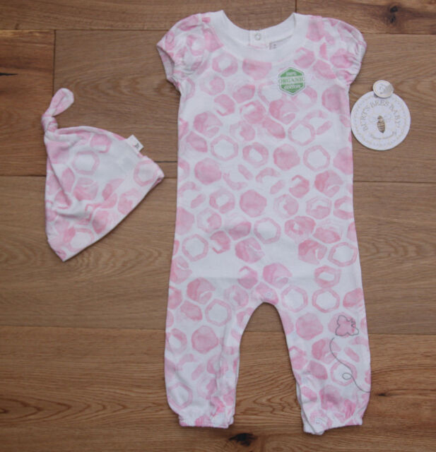 Burt/'s Bees Baby Girl Non Footed Coverall ~ Pale Pink /& White ~ Organic Cotton ~