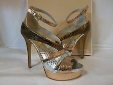 Michael Kors 6.5 M Leighton Rose Gold Leather Platforms New Womens Shoes  NWOB