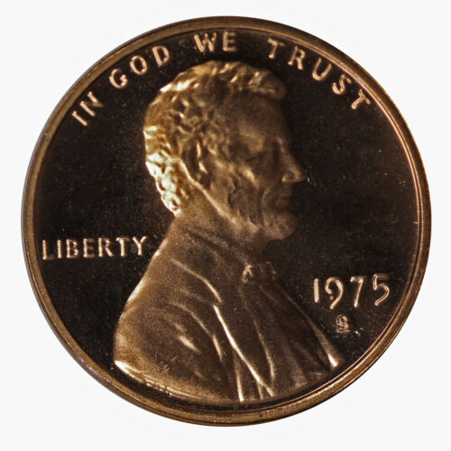 S Lincoln Cent 1c Gem Proof Roll 50 US coins 1975