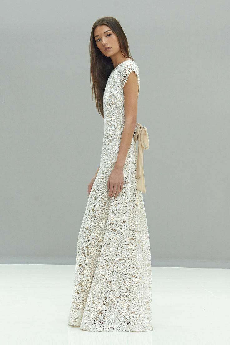 ALEXIS  LEVON  IVORY NUDE LACE BOHO BEACH BRIDAL MAXI DRESS GOWN L LARGE