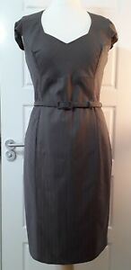 Austin Reed Women S Dress Size 12 Wool Pinstripes Straight Belt Work Job Formal Ebay