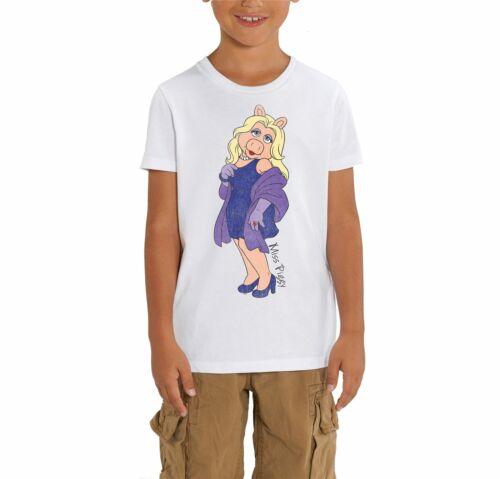 The Muppets Miss Piggy Children/'s Unisex White T-Shirt