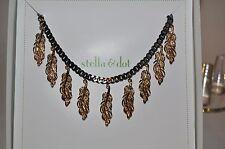 stella & dot Secret Garden Cluster Necklace hematite chain and bronze leaves
