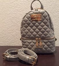 Bebe Danielle Quilted Mini Backpack Paloma Grey+ Goldstone Logo Plate Authentic