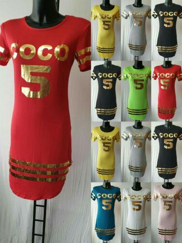 LADIES NEW SUMMER COCO 5 GOLD PRINTED CURVED HEM SHORT SLEEVE MINI DRESS UK MADE