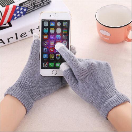 Men Women Knit Winter Warm Gloves Smart Phone Touch Screen Full Finger Mittens
