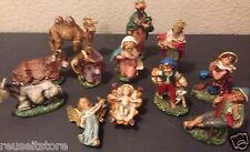 Vintage Nativity ITALY Creche Manager Figures 12 piece lot 60's set Jesus Angel