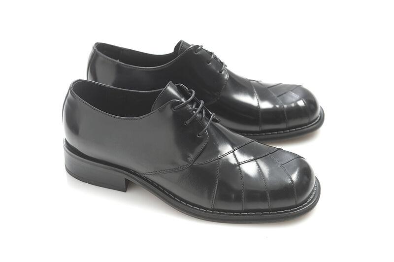Ikon Zodiac Mens Black Leather Cross Shoes Retro Mod Rock 60S Lace Up