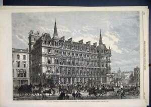 Impresion-Original-Antiguo-Viejo-1867-Terminus-hotel-sur-oriental-estacion-de-ferrocarril